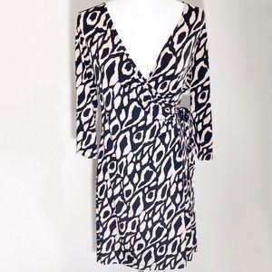 Tahari ASL Black Taupe Animal Print Wrap Dress